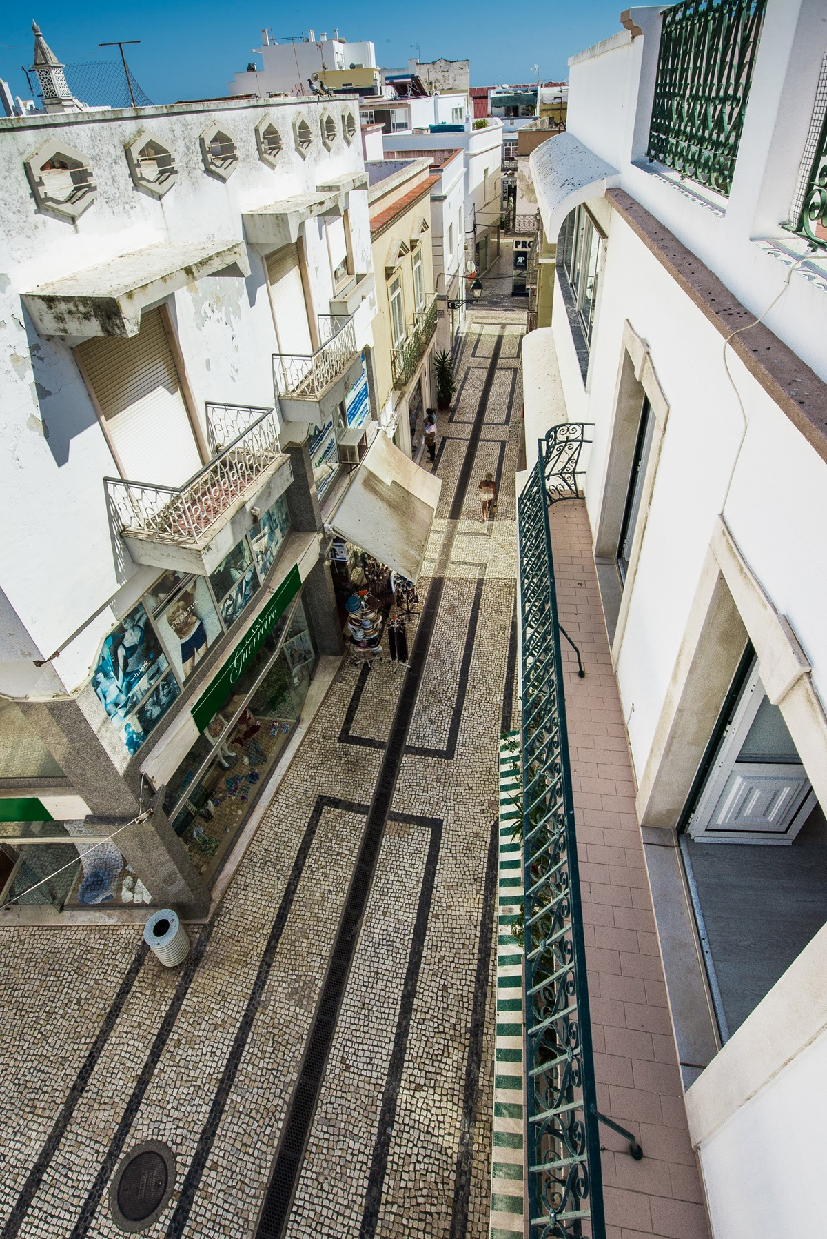 Looking down to the pedestrian shopping street of Olhao