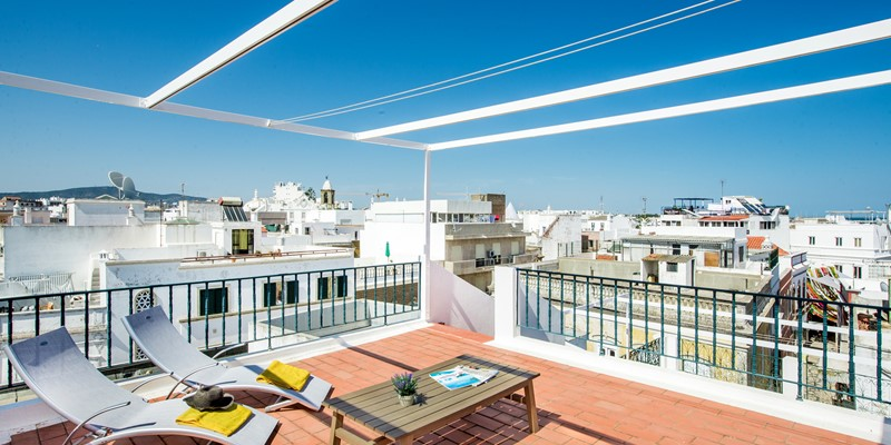 The top terrace with stunning sea views