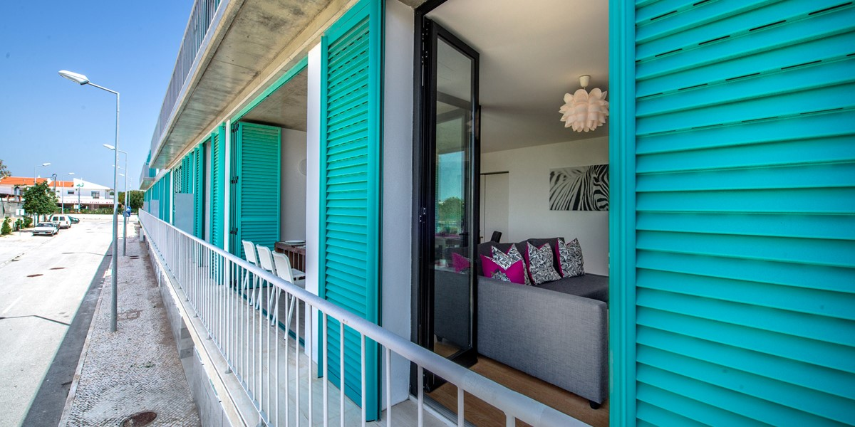 Beautiful aqua green shutters at Cabans de Tavira