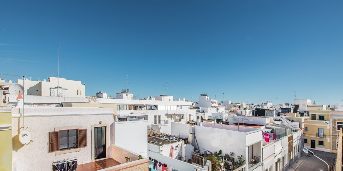 Looking across the amazing roof tops of Olhao from the highest spot