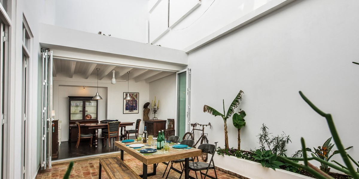 Surrounded by local plants and looking in to the dining room of our 3 bedroom townhouse