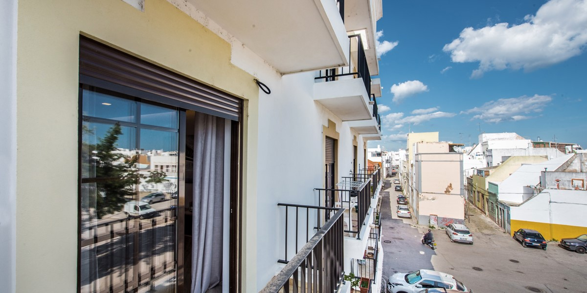 The juliet balconies giving light and views to the 2 bedroom apartment