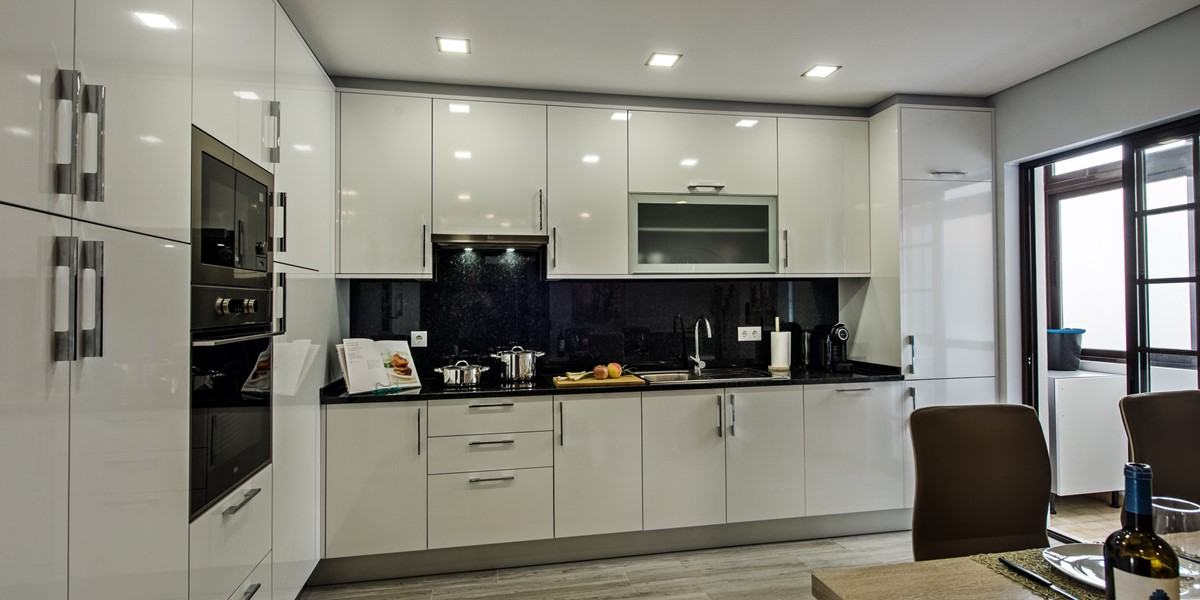A fitted and superbly equipped ultra modern kitchen