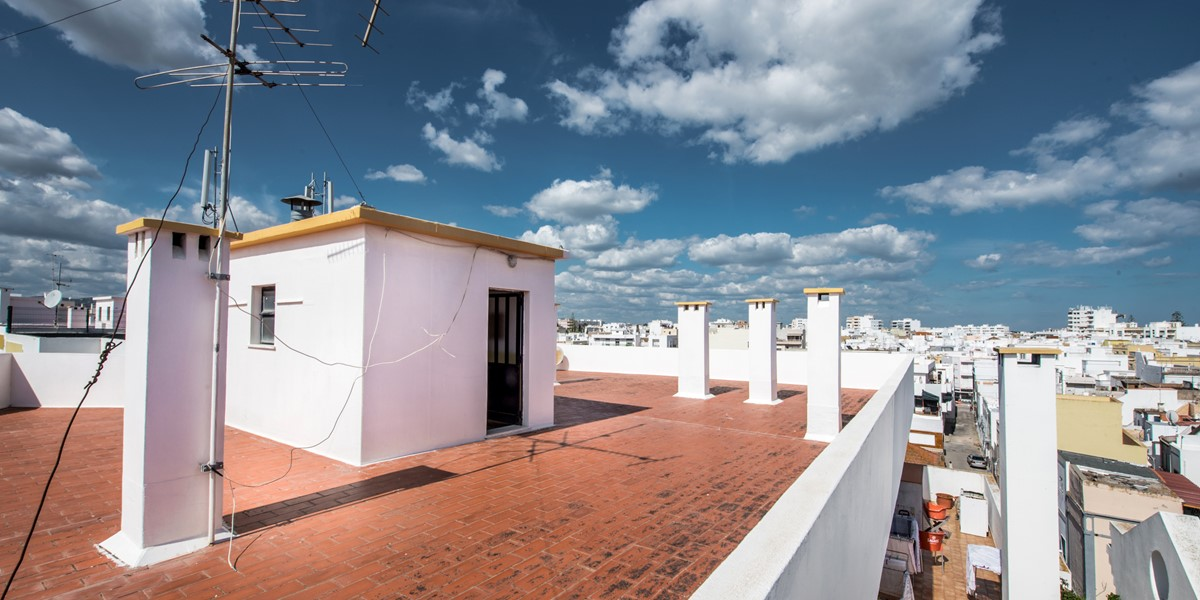 The shared roof terrace, check out the fabulous sea views